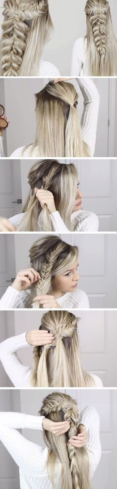 Lovely Fishtail into Pull Through Braid | DIY Wedding Hairstyles for Medium Hair | Easy Bridesmaids Hairstyles for Long Hair  The post  Fishtail into Pull Through Braid | D ..