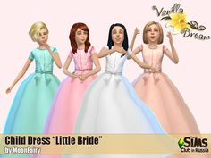 "Child dress ""Little bride"" for project ""Vanilla Dream"" of The Sims Club in Russia The Sims 4 Bebes, Sims Medieval, Sims 4 Children, Sims 4 Clothing, Kids Clothing, Clothing Labels, Sims4 Clothes, Sims 4 Dresses, Sims 4 Toddler"