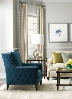 Bernhardt   Almada Chair with diamond trapunto, in deep teal woven and antique nickel nail outline