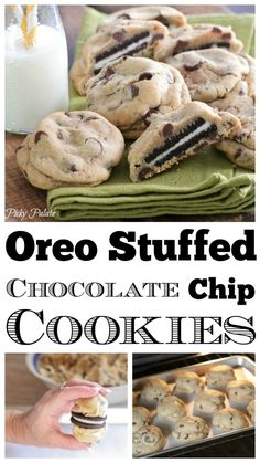 Can't choose between Oreos & chocolate chip cookies? These Oreo Stuffed Chocolate Chip Cookies will satisfy all your cookie cravings. Coconut Hot Chocolate, Best Chocolate Chip Cookie, Homemade Chocolate, Oreo Chocolate Chip Cookies, Chocolate Chip Recipes, Chocolate Chocolate, Chocolate Cherry, Cookies Oreo, Oreo Cookie Recipes