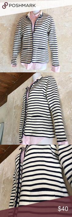 Banana Republic striped sweater Banana Republic navy and ivory striped blazer. This sweater blazer will pull any outfit Together. Banana Republic Jackets & Coats Blazers