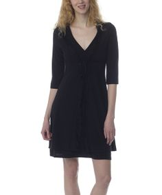 Take a look at the Black Lace Maternity & Nursing Nightgown & Robe on #zulily today!