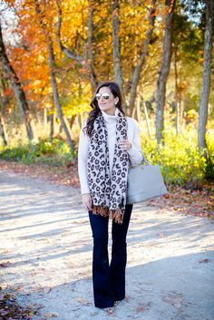 leopard scarf, flare jeans, shopbop jeans, leopard pumps, calf hair pumps, leopard heels, chunky knit, fall turtleneck, blush turtleneck, fall outfit, cozy outfit // grace wainwright from a southern drawl