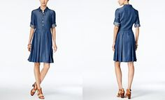 Tommy Hilfiger Pleated Denim Shirtdress