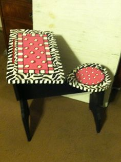 Funky Hand Painted Furniture | Whimsical Funky hand painted wood handmade kids school desk with lid ...