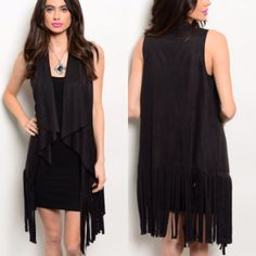 Black Suede Fringe Vest This faux suede vest features a waterfall open front and fringe detail along hem. S M L. comment below with size and I will make a new listing for you to purchase. Jackets & Coats Vests