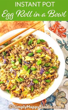 Instant Pot Egg Roll in a Bowl is a delicious low carb one pot recipe. A simple meat and cabbage dish with a tasty Asian flavored sauce. This pressure cooker egg roll in a bowl is also called Crack Slaw. Instant Pot recipes by simplyhappyfoodie. Beef Recipes, Healthy Recipes, Healthy Pressure Cooker Recipes, One Pot Recipes, Simple Recipes, Chicken Recipes, Crack Slaw, Eggroll In A Bowl, Ground Beef Recipes