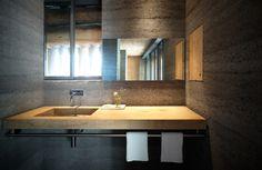 soglio-by-ruinelli-associati-architetti-wood-and-concrete-bathroom - Home Decorating Trends - Homedit Concrete Texture, Concrete Wood, Polished Concrete, Poured Concrete, Concrete Houses, Bathroom Red, Concrete Bathroom, Red Bathrooms, Bathroom Ideas