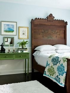 Small bedroom; emerald and turquoise with chocolate brown wood tones; lovely for a guest room