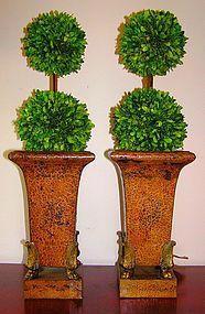 Pr of Antique Toleware Vases, Original Paint