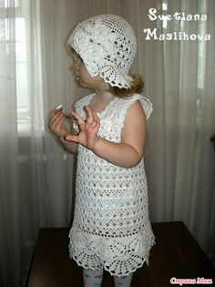 Crochet Knitting Handicraft: Angelic white dress