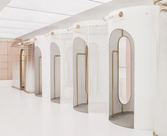 daylab studio completes futuristic 'heyshop' design in shanghai Interior Architecture, Interior And Exterior, Interior Design, Gothic Architecture, Kids Toilet, Ancient Greek Architecture, Cosmetic Design, Dressing Area, Toilet Design