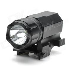 P05 150lm 2-Mode White Flashlight w/ Cree XP-G R5 for 21mm Gun - Black (1 x CR2). Brand N/A Model P05 Quantity 1 Color Black Material Aluminum alloy Emitter Brand Cree LED Type XP-G Emitter BIN R5 Color BIN Cool White Number of Emitters 1 Working Voltage 2.4~3.7 V Battery Configuration 1 x CR2 battery (not included) Circuitry 500mA Brightness 150 lm Runtime 1~2 hour Number of Modes 2 Mode Arrangement Steady on / Fast strobe (Double click to enter fast strobe mode) Mode Memory No Switch Type…