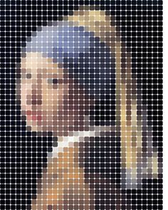 Girl with the Pearl Earring Pixel Mosaic Poster
