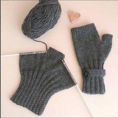 gloves made from socks Strickhandschuhe Modelle - rg Teknikleri # Hausschuhe stricken # Hausschuhe . Fingerless Gloves Knitted, Knitted Slippers, Knit Mittens, Loom Knitting, Knitting Socks, Baby Knitting, Crochet Gloves Pattern, Knit Crochet, Knitting Accessories