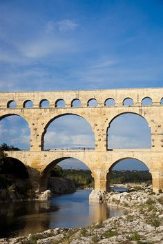Pont Du Gard, an ancient Roman aqueduct that crosses the Gardon River in Vers-Pont-du-Gard near Remoulins, in southern France.