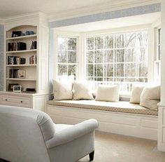 Window Seat - this looks so much like our living room front window, only ours has no seat yet. Now I want to do the built-ins AND the window seat! by Guilty_Pleasures Bay Window Benches, Window Seat Cushions, Kitchen Window Seats, Window Grill, Bench Cushions, Foam Cushions, Home Decor Bedroom, Living Room Decor, Dining Room