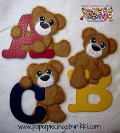 Pre-made ABC Mulberry Paper Tear Bears Set of 3 by PaperPiecingsbyNikki.com for $17.99 or stop by and download the cutting file so you can make your own :)