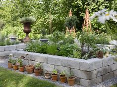 Rocks immediately next to raused beds then grass Veg Garden, Garden Beds, Farm Gardens, Small Gardens, Outdoor Plants, Outdoor Gardens, Low Maintenance Garden Design, Hidden Garden, Succulents Garden