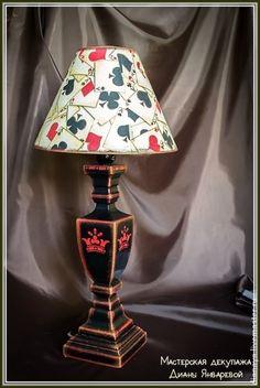 """Освещение ручной работы. Ярмарка Мастеров - ручная работа Настольная лампа """"Карты, деньги, два ствола"""" декупаж. Handmade."""