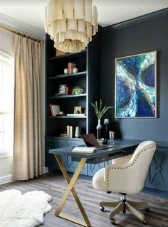 Blue Home Offices, Home Office Space, Home Office Decor, Office Desk, Home Office Furniture Ideas, Office With Couch, Masculine Home Offices, Modern Home Offices, Cozy Home Office