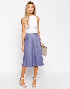 Image 1 of ASOS Midi Skirt with Coated Pleats