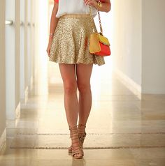 Gold Sequin Skirt, Gold Shoes, White Blouse.