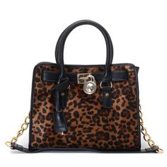 "Michael Kors Hamilton Calf-Hair Satchel * Dyed leopard-print calf hair with black leather trim. * Golden hardware. * Top handles. * Chained shoulder strap; 11"" drop. * Strapped top with logo-engraved lock detail. * Hanging key. * 9""H x 12 3/4""W x 5 1/2""D."