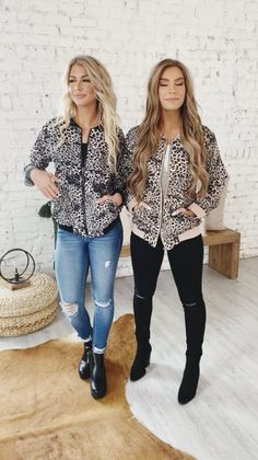With a fun twist on a classic look, we are loving our Leopard Bomber Jacket! They have adorable leopard detail, side pockets, and a comfortable elastic waistband and collar. These jackets are perfect to help you transition from warm to cooler weather. (Cute Casual Outfits, Casual Outfit Ideas)
