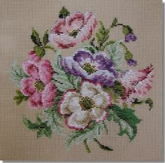 A huge range of floral spray designs suitable for cushions, footstools or chair seats. Cross Stitch Embroidery, Hand Embroidery, Cross Stitch Patterns, Owl Quilt Pattern, Quilt Patterns, Cross Stitch Love, Cross Stitch Flowers, Anemone Bouquet, Tapestry Kits