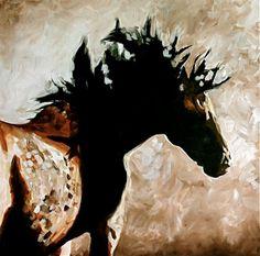 RAVENS RIDE Alberta Wild Horse Series by jennifer mack 30x30  Acrylic on canvas  SOLD www.jmackfineart.com