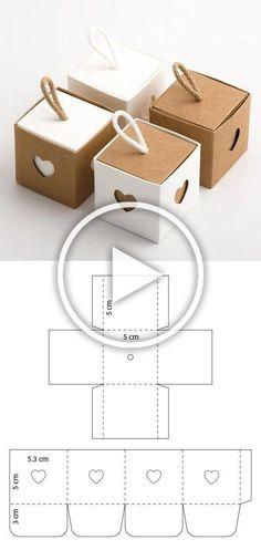 Diy Geschenk Basteln - Cubitos kraft con corazones - diy crafts using paper - Diy Paper Crafts Diy Gift Box, Diy Box, Gift Tags, Diy Crafts For Gifts, Diy Crafts Videos, Diy Paper, Paper Crafts, Kraft Paper, Clever Diy