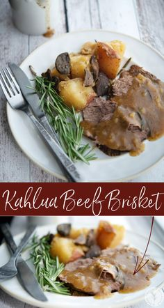 Beef brisket combined with garlic, mushrooms, fresh rosemary, beef broth and Kahla; then slowly cooked in the crock pot. #beef #kahlua #crockpot #slowcooker #sundaydinner