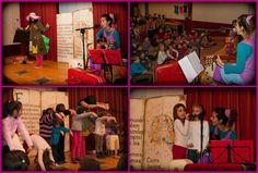 La sala polivalente de la Biblioteca Manuel Alvar (Zaragoza) se convierte en un teatro donde niños y niñas disfrutan de las historias y canciones de Pinsueño (2014).