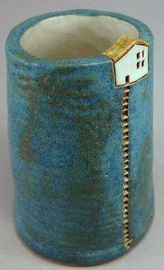 """Midnight Blue Hill"" - Szilvia Vihriälä (stoneware) clay mug diy project inspo Hand Built Pottery, Slab Pottery, Ceramic Pottery, Pottery Art, Pottery Sculpture, Clay Houses, Ceramic Houses, Ceramic Clay, Clay Mugs"