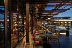 "Tasca and Netsu Restaurants at the Mandarin Oriental Jumeira, Dubai - dpa lighting consultants - ""Right Light, Right Place, Right Time"" ™ #dpalighting #lightingdesign #restaurantlighting #barlighting #terracelighting #poollighting #candles #pendants #concealedlight #spotlights #uplighting"