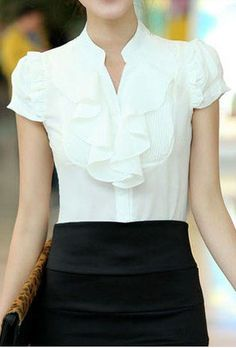 Something like this for my collarless version of dress shirt - but without the scary massive ruffle!