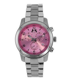 Loving this Pink & Silver Infinity Chronograph Watch on #zulily! #zulilyfinds