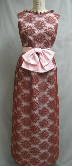 Vintage 60's PROM Dress Taffeta and LACE Formal by Cuckoochenille