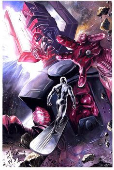 Galactus and SIlver Surfer by J.K. Woodward