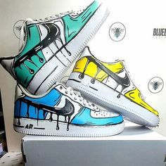 Nike air force 1 cartoon customs available in a variety of colours Custom Painted Shoes, Custom Shoes, Cute Nike Shoes, Vans Shoes, Nike Shoes Air Force, Sneaker Art, Aesthetic Shoes, Fresh Shoes, Hype Shoes