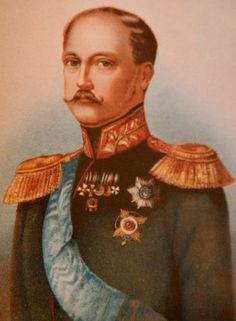 Portrait of Nicholas I of Russia.  He was third son of Paul I of Russia and younger brother of Alexander I.  Alexander I died childless and the next brother in line Constantine Nikolaevich refused to accept the throne for himself, making Nicholas, the third son, next in line.  Nicholas ruled from 1825 until 1855.