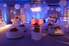 Cool industrial look - loving the paper lanterns #weddingloungefurniture #weddingdecor #weddingreception