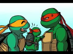 Mikey, Raph... and Raph. If I remember right there's a tmnt 2003 episode where Mikey has a puppet Raph just to mock Raphael.