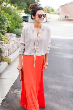 Neutrals and brights - cute! Christmas Party Outfits, Mode Inspiration, Mode Style, Modest Fashion, Passion For Fashion, Dress To Impress, Dress Skirt, Cute Outfits, Rock Outfits