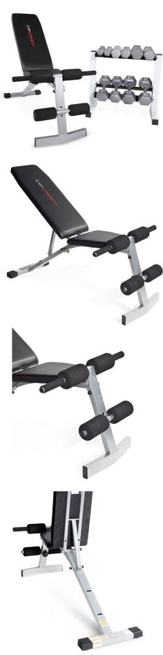Dumbbells 137865: Home Gym Bench + 150 Lb Iron Hex Dumbbells Free Weights + Rack Exercise Lot Set -> BUY IT NOW ONLY: $198.5 on eBay!
