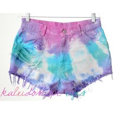 Vintage Levis Destroyed Colorful Pastel Tie Dyed Denim High Waist Cut... ($65) ❤ liked on Polyvore featuring shorts, ripped denim shorts, high-waisted shorts, cut off denim shorts, cut off shorts and pastel shorts
