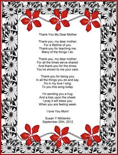letter to a mother from daughter on wedding day | Poem FOR Mom ...