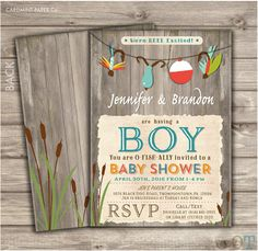 Wonderful Fishing Baby Shower Invitations Boy Shower Invites NV873