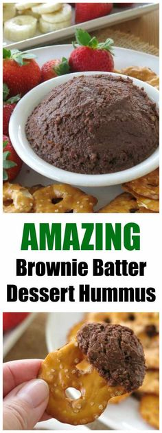 Dessert Hummus that tastes like Brownie Batter and is healthy, vegan, gluten-free and easy to make! You won't believe it has chickpeas in it! #chickpeas #desserthummus